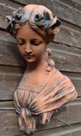 Female art nouveau wall plaque bust fragment